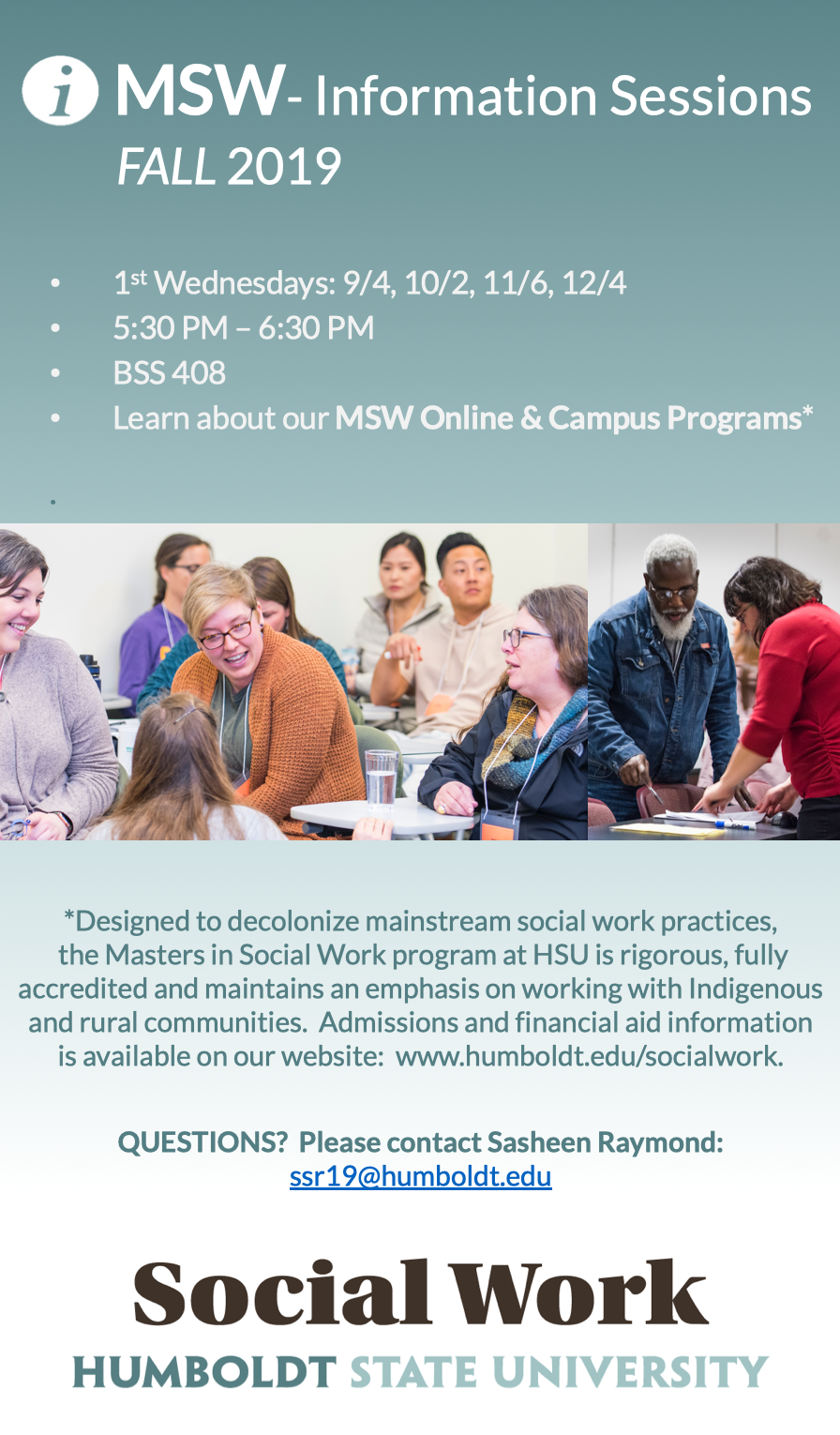 MSW Information Sessions - Fall 2019 - for Online & Campus Programs